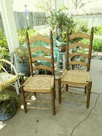 Wooden/rattan seat chairs. $15 each/both $25
