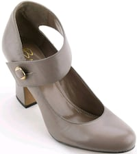 """B Makowsky Leather Shoes with 3.5"""" Heel - Grey 7.5 Plano, 75024"""