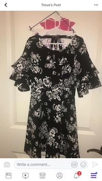 black and white floral scoop-neck dress Meridian, 39305