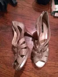 pair of gray open toe ankle strap heels Fort Worth, 76164