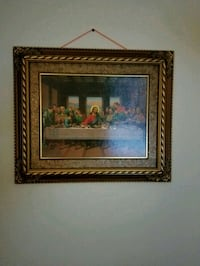 Catholic brown wooden framed painting of house Ashburn, 20147