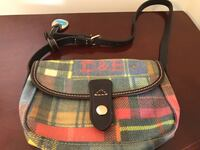 brown, red, and black plaid Dooney and Bourke hobo bag
