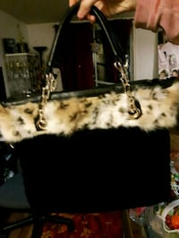 Black and Gold Fur Leatherette Tote Bag, NEW.  London, N6K 2X6