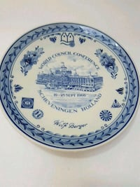 round white and blue ceramic plate Kitchener, N2A 2M5