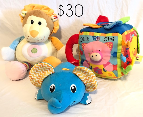 Melissa Doug Musical Farmyard Activity Cube Lion Rattle Plush Stuffed Animal Infantino Vibrating Scooting Musical Plush Elephant With Crinkle Ears