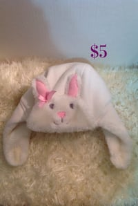 White fur bunny winter baby hat: size 0-24 months.