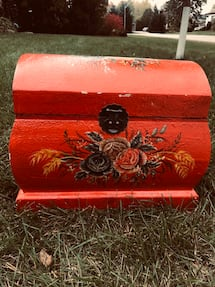 Bright red vintage chest