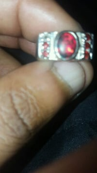 silver-colored ring with red gem stone Pensacola, 32514