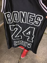 black and white Bones Crew 24 jersey