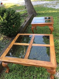 Oak coffee table with two matching end tables..beveled tinted glass..claw feet. Cash and pick up only..Harrison Tennessee ph [TL_HIDDEN]  Harrison, 37341