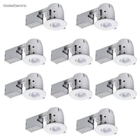 Globe Electric » 4 in. White IC Rated Dimmable Round Recessed Lighting Kit, LED Bulbs Included (10-Pack)