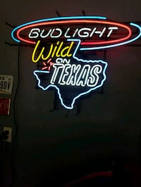 red and blue Bud Light neon signage San Antonio, 78242
