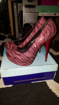 red leather platform stiletto Santa Cruz, 95060