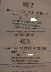 Got I tickets for  Hamilton Washington DC at the Kennedy Center Opera House    Two orchestra seats together (Row CC, a few from stage) available for Wednesday 7/18/2018, 7:30 PM show Washington, 20003