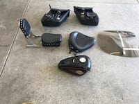 black motorcycle tank, seat, backrest, and two saddle bags Lompoc, 93437