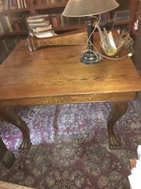 "Antique solid oak breakfast table 43"" square with additional 5th leg Amazing condition Only used in our library  No chairs Mount Carmel, 17851"