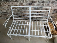 Metal love seat with 2 cushions