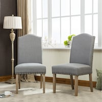 Solid Wood Nailhead Fabric Padded Parson Chair Set of 2, Tan , SKU # 57336 Santa Fe Springs