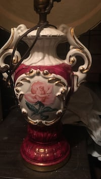 White and red floral ceramic table lamp base Toronto