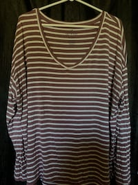 Mauve and white striped oversized long sleeve