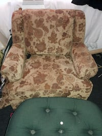 brown and beige floral sofa chair