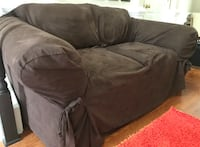 fabric 2-seat sofa with chocolate brown cover Peachtree City, 30269