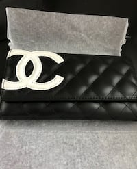 LADIES LEATHER DESIGNER WALLET BLACK WITH WHITE EMBLEM Cambridge