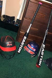 Softball bats , helmet