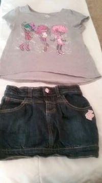 gray and pink crew-neck shirt with blue denim skirt Newport News, 23607