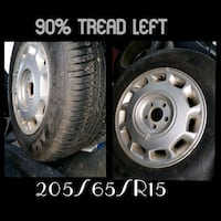 two gray multi-spoke vehicle wheel with tire collage