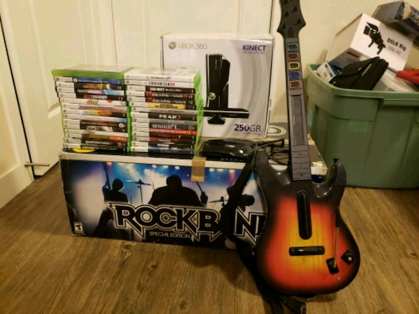 xbox360 kinect edition plus rock band bundle