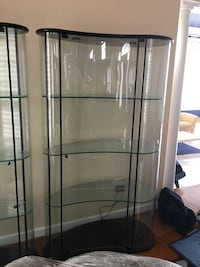 Black metal frame clear glass display cabinet w/ front glass door opening and and inside lighting Germantown, 20874
