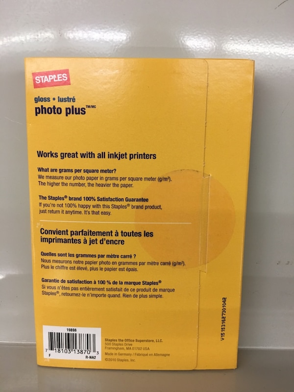 Brand New Staples 60 Sheets Photo Plus Paper 4in X 6 In Gloss