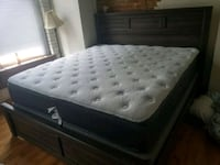 tufted white mattress with black wooden bed frame Brandon, 39042