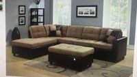 brown and black sectional couch