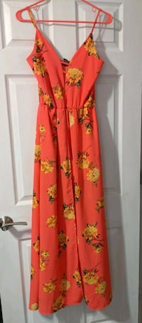 women's red and yellow floral sleeveless dress 448 mi