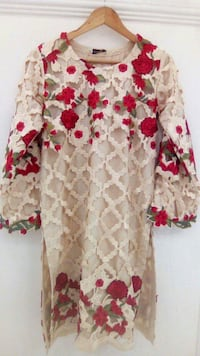 white and red floral long-sleeved dress Saskatoon, S7K 0R7