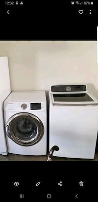 white Samsung front load washer and dryer set Palm Springs