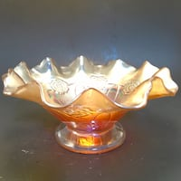 "ANTIQUE DUGAN ""DOUBLE STEM ROSE"" DOME FOOTED CARNIVAL GLASS BOWL 9"" FLUTED EDGE Norman, 73071"