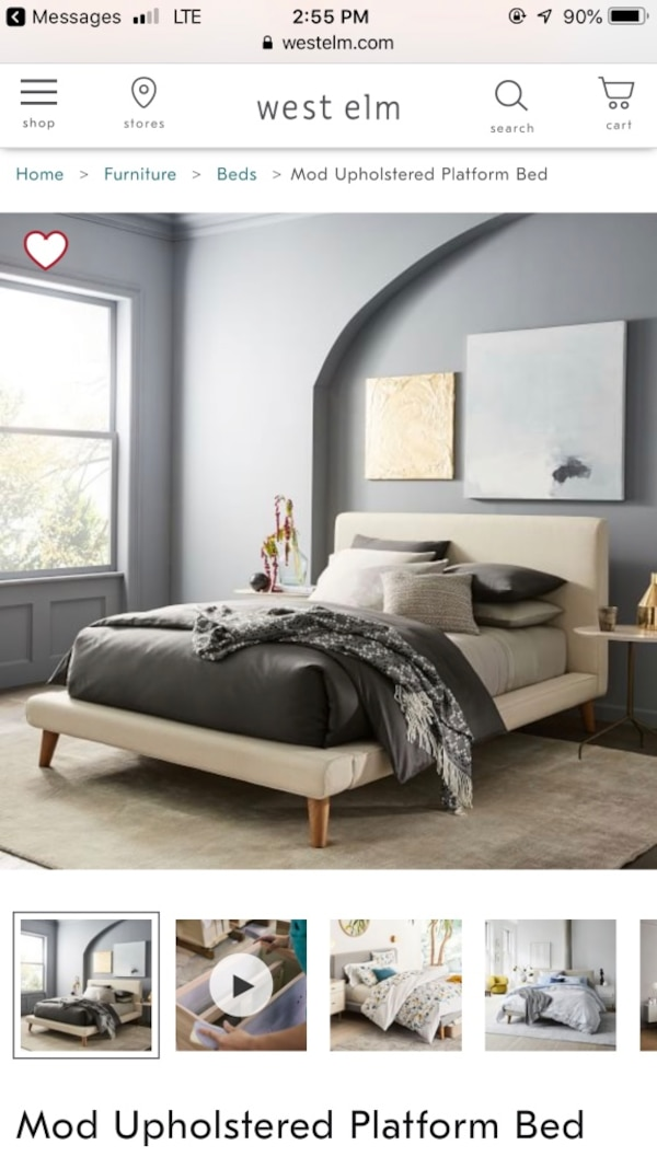 a5f4cc1143 Used Mod Upholstered Platform Bed (See description) for sale in Lake Mary -  letgo