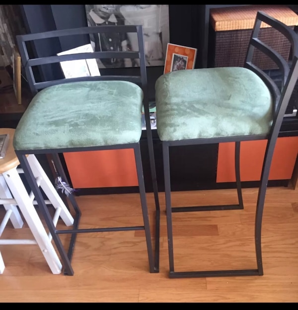 Moving Must go !! Two framed green padded chairs