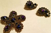 Jeweled Pin and Clip Earring Set