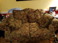 brown and beige floral fabric loveseat Mobile, 36695