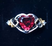 Sterling silver lab ruby heart ring Baltimore, 21224