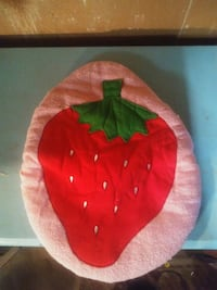 red. Strawberry.  Toilet seat cover