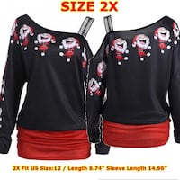 Christmas black and red one-off shoulder long-sleeved Blouse Dundalk, 21222