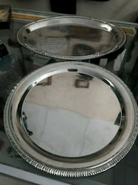 Set of 3 Silver Nickel Plated Serving Trays 812 mi