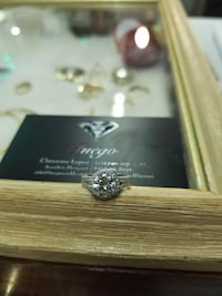New Sterling Silver Halo Ring 3733 km
