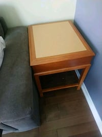 brown wooden framed glass top side table Brampton, L6X