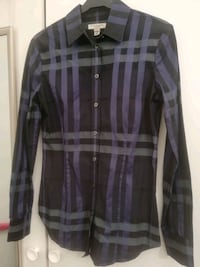 BURBERRY London Navy check regular fit dress shirt